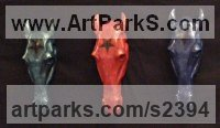 Resin Horse Head or Bust or Mask or Portrait sculpture statuettes statue figurines sculpture by Christine Close titled: 'Manege a Trois (3 Horse Head Painted Wall Plaques)'