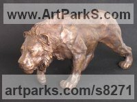 Bronze Cats Wild and Big Cats sculpture by Christine Close titled: 'ON THE PROWL (Bronze Lion Hunting Prowling statue)'