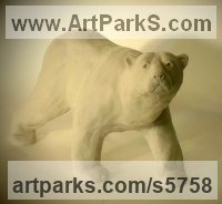 Marble resin Bears sculpture by Christine Close titled: 'Polar Explorer (Small White Polar Bear statuette)'