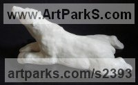 Marble resin Bears sculpture by Christine Close titled: 'Polarize (Wite Reclining Polar Bear sculptures)'