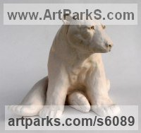 Marble resin Bears sculpture by Christine Close titled: 'Pole Taxed (Cast marble Waking Polar Bear statue)'