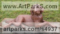 Copper resin Dogs sculpture by Christine Close titled: 'Poser (Retriever Dog Resting Yard statue sculpture)'