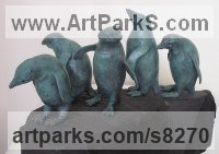 Bronze Small bird sculpture by Christine Close titled: 'ROCKHOPPERS (bronze Little Cluster Penguin Indoor statuettes)'