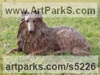 Copper resin Dogs sculpture by Christine Close titled: 'Rough Collie (Sitting Alert Sheep Dog art statue)'