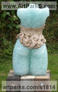 Recycled Materials / Objets trouvees or Upcycle sculpture Statues statuettes by sculptor artist Christine Close titled: 'Sea Siren (Torso Young Woman Girl statue sculpture)' in Recycled glass , sand and resin