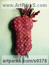 Mied- paper, wire, acrylic, wax Fruit sculpture by Christine Palamidessi titled: 'Communist Pineapple (Fun Red Torso statues)'