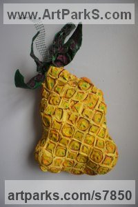 Mixed-paper, paint, wire Fruit sculpture by Christine Palamidessi titled: 'Pineapple Upside-Down (Wall Fruit statues)'