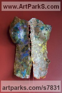 Mixed- found materials, wax, oil, gouach Wall Mounted or Wall Hanging sculpture by Christine Palamidessi titled: 'River (nude Naked life size Girl`s female Woman`s Torso Wall statue)'