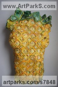 Mixed-papers,wire, wax, paint Torsos Sculptures or Chests of Men and Women Females Girls Children Statues statuery statuettes sculpture by Christine Palamidessi titled: 'The Good Abacaxi Pineapple (Yellow Torso statue)'