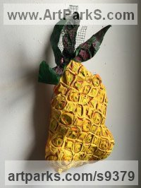 Mixed- paper, wire, acrylic, metal, wax Fruit sculpture by Christine Palamidessi titled: 'Up-Side Down Pineapple sculpture'