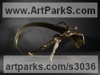 Bronze, brass sheet Stylized People sculpture by �iğdem Yapanar titled: 'Rhythm and Space (bronze Modern nude Girl Gymnast Small statues)'