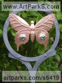 Steel and copper Wall Mounted or Wall Hanging sculpture by Claudia Petley titled: 'Butterfly Ring (Copper Metal Large garden/Yard sculpture or Decor)'