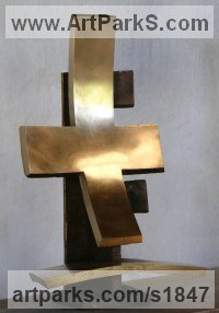 Bronze Architectural sculpture by Colin Figue titled: 'Order of Cross (Contemporary Modern Indoor Cross statue)'