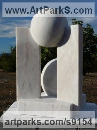 Portuguese Marble Carved Stone, Marble, Alabaster, Soap Stone Granite Lime stone sculpture by Colin Figue titled: 'Planet Waves (Small abstract Spherical Minimalist statue)'