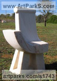 Portuguese marble Architectural sculpture by Colin Figue titled: 'Seated figure (Contemporary Stone Throne Carving statue)'