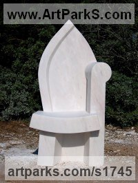 Portuguese marble Architectural sculpture by Colin Figue titled: 'Seated figure 3 (Carved marble Modern Church Chair statue)'