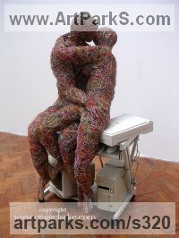 Internet and computer wire Human Figurative sculpture by Craig Clarke titled: 'The Electric Kiss'