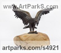 Bronze on Wood base Small bird sculpture by sculptor Cynthia Lewis titled: 'Eagle (Landing Bronze small Raptors or Birds of Prey statuettes)'