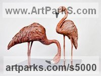Bronze on polished Steel base Hyperrealistic sculpture by sculptor Cynthia Lewis titled: 'Flamingos (Pink Bronze Feeding Standing Lifelike sculptures/statuette)'
