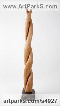 Mahogany on soapstone base Indoor Inside Interior Abstract Contemporary Modern Sculpture / statue / statuette / figurine sculpture by sculptor Cynthia Lewis titled: 'Growth (Carved Wood Plant Creeper Contemporary abstract sculptures)'