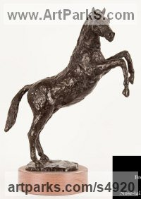 Bronze on Cherry wood base Horse Sculpture / Equines Race Horses Pack HorseCart Horses Plough Horsess sculpture by sculptor Cynthia Lewis titled: 'Rearing Horse (Little Bronze Prancing Jumping statuettes/statue/figurative)'
