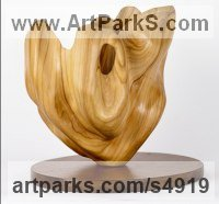 Elm on wood base Carved Wood sculpture by sculptor Cynthia Lewis titled: 'Tulip (Little abstract Modern Floral Carved Wood Indoors sculptures)'