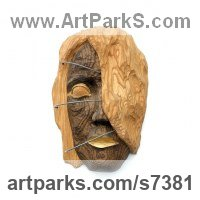 Walnut wood and metal Mask, Wall Hung Faces and Part Heads sculpture by Dana Nachlinger titled: 'Wooden sculpture Africa (Carved Wood female Face Head Carving statue)'
