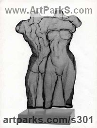 Sensual Sculpture or Statues by sculptor artist David Begbie titled: 'Back to Front (Dancing nude Couple statue in Mesh Wall Hung statues)' in Steelmesh
