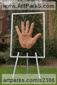Wall Mounted or Wall Hanging sculpture by sculptor artist David Begbie titled: 'Palm (Bronze Wire Mesh Big Hand garden sculpture statue)' in Bronzemesh