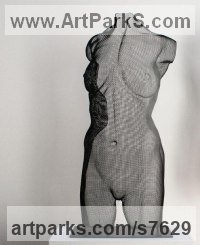 Steel mesh Sculptures of females by David Begbie titled: 'Venus Large (mounted on a metal base)'