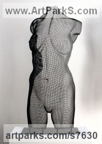 Steel Mesh Sculptures of females by David Begbie titled: 'Venus Large Black (New Flat Range Less Expensive statue sculpture)'