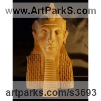 Reconstituted Sandstone Historical Character Statues / sculpture by sculptor David Buck titled: 'Egyptian Pharaoh Akhenaton (Kings Bust 0r Head statue)'