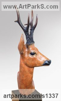 Bronze Deer sculpture by David Cemmick titled: 'Roe Buck (Bronze Deer Head/Mask sculptures/statues)'