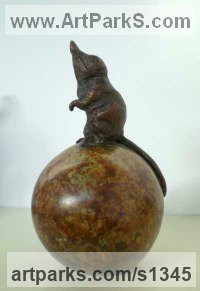 Bronze Farm Yard sculpture by David Cemmick titled: 'Star Gazer (Small Bronze Shrew/Mouse sculptures)'