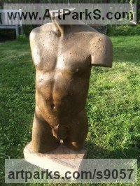 Composite stone Nudes / Male sculpture by David Corbett titled: 'Cast stone antique effect lifesize male statue'