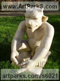 Bronze Mythical sculpture by sculptor David Corbett titled: 'Symbolic Gargoyle (Horned nude Male garden sculptures)'