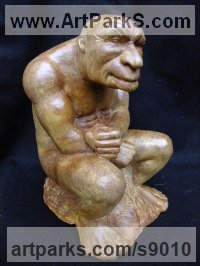 Composite stone Small / Little Figurative sculpture / statuette / statuary / ornament / figurine sculpture by David Corbett titled: 'The Thoughtful Troll'