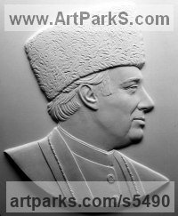 Commission and Custom and Bespoke sculpture sculpture by sculptor David Cornell titled: 'Agakhan (plaster Bas/Low Relief Side View Portrait sculpture/panel)'