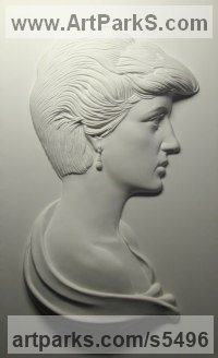 Famous People sculpture sculpture by sculptor David Cornell titled: 'Diana Princess of Wales (Bas relief Plaque Wall Mounted portraitsculpt)'