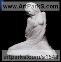 MARBLE RESIN Females Women Girls Ladies sculpture statuettes figurines sculpture by sculptor David Cornell titled: 'Dreamer (Small/Little Cast marble nude Girl statuette)'
