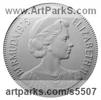 Plaques, Medals, Medalions, Coins, Tokens, Commemorative Customised Commission or Bespoke sculpture by sculptor David Cornell titled: 'Elizabeth II - Bermuda 1975'