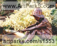BRONZE Sculpture of Children by David Cornell titled: 'FISHING BOY (sculpture) MAGIC MOMENTS life size bronze statue'
