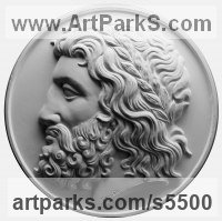 Plaster Plaques, Medals, Medalions, Coins, Tokens, Commemorative Customised Commission or Bespoke sculpture by sculptor David Cornell titled: 'Greek God'