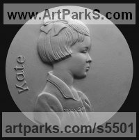 Plaster Plaques, Medals, Medalions, Coins, Tokens, Commemorative Customised Commission or Bespoke sculpture by sculptor David Cornell titled: 'Kate'