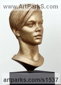 RESIN Male Men Youths Masculine sculpturettes figurines sculpture by sculptor David Cornell titled: 'Leonardo Di Caprio - Romeo (Portrait Bust/Head statue)'