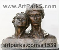 BRONZE Portrait Sculptures / Commission or Bespoke or Customised sculpture by sculptor David Cornell titled: 'Nureyev and Fonteyn (Ballet Dancers Bust statue)'