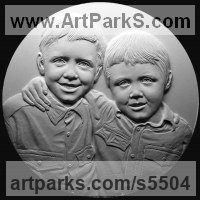 Plaques, Medals, Medalions, Coins, Tokens, Commemorative Customised Commission or Bespoke sculpture by sculptor David Cornell titled: 'Paul and Steve'