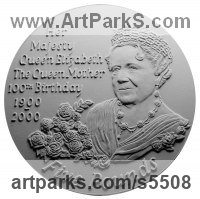 Plaster Plaques, Medals, Medalions, Coins, Tokens, Commemorative Customised Commission or Bespoke sculpture by sculptor David Cornell titled: 'Queen Mother'