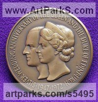 Plaques, Medals, Medalions, Coins, Tokens, Commemorative Customised Commission or Bespoke sculpture by sculptor David Cornell titled: 'Silver Wedding Anniversary of the Queen and The Duke of Edinburgh'