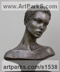 RESIN Females Women Girls Ladies sculpture statuettes figurines sculpture by sculptor David Cornell titled: 'Supermodel Kate Moss (sculpture Bust/Head statue)'